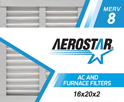 Aerostar 16x20x2 MERV 8, Pleated Air Filter, 16x20x2, Box of 6, Made in the USA