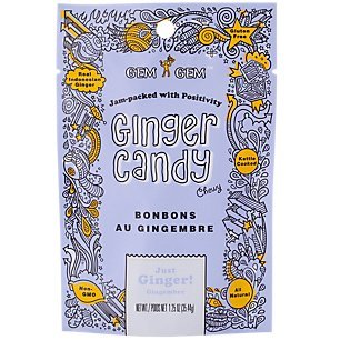 Gem Gem All Natural Chewy Original Just Ginger Candy 1.25 oz (Pack of 12)