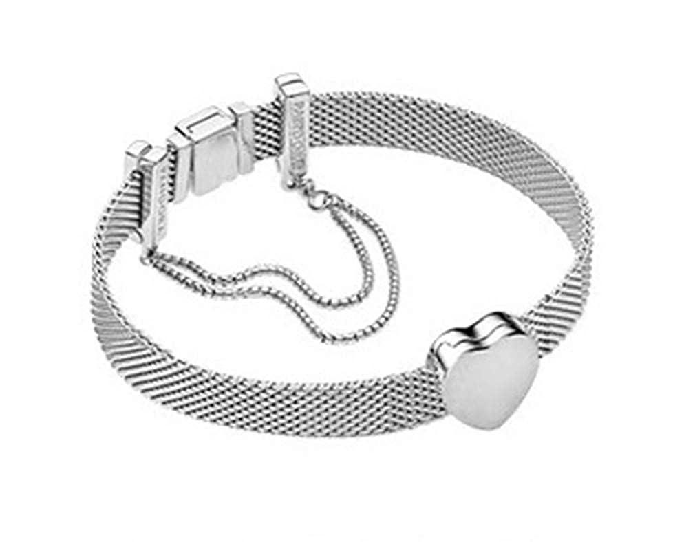 XWKCHCL Silver Plated Hgih Quality Mesh Heart Womens Charm Silver Plated 19cm with Bead