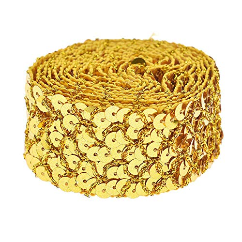 2 Yards Fish Scales Sequins Trim Mesh Ribbon Wedding Dress Applique DIY Craft (Color - Gold)