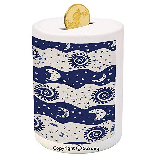 Sun and Moon Ceramic Piggy Bank,Wavy Color Bands with Spiral Sun Moon Phases Little Stars Vintage Design Decorative 3D Printed Ceramic Coin Bank Money Box for Kids & Adults,Navy Blue ()