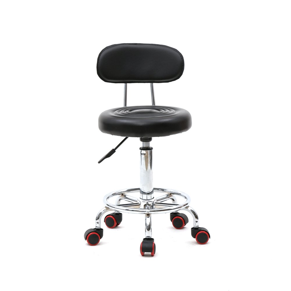 Teeker Rolling Stool Chair,Adjustable Swivel Massage Salon Spa Stool,Office Dental Bar Chairs with Wheels and Back,Seat Height 18.9-22.83 Weight capacity 220 lb