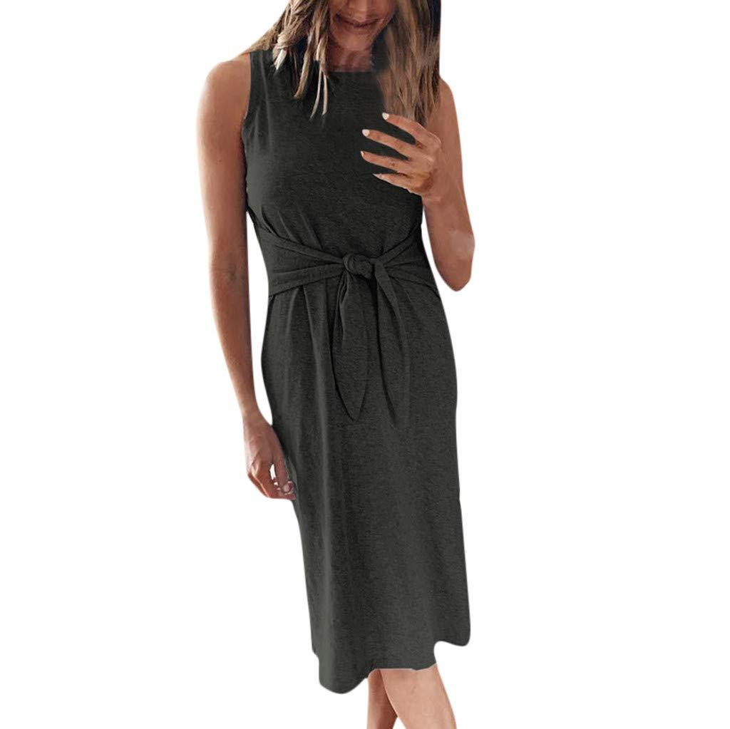 Botrong Womens Ladies Sleeveless Bandage Tie Wasit Casual Nightwear Long Midi Dress (Green,L)