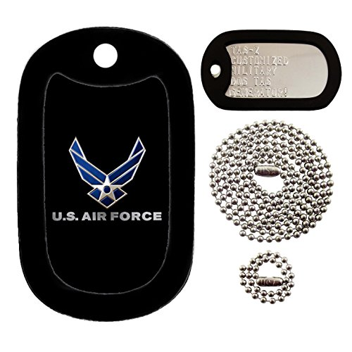 Military Dog Tags - Custom Embossed U.S. Air Force Military Dog Tag - Dog Tag Set