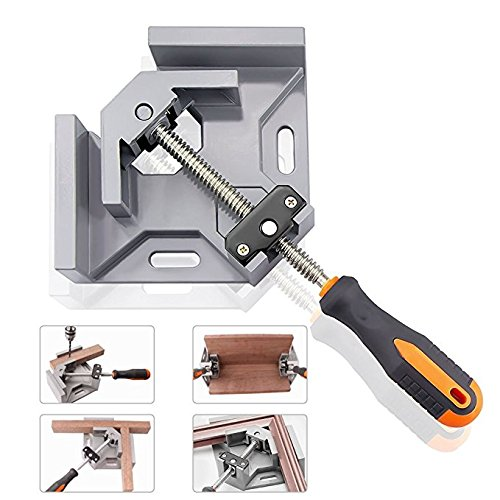 DR. Machinist 90° Aluminum Alloy Corner Clamp, Right Angle Clip Clamp Tool Woodworking Photo Frame Vise Welding Clamp Holder with Adjustable Swing Jaw - Silver Gray (Grey) (Corner Silver Frame)