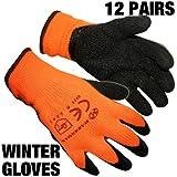 BARGAINS-GALORE ® 12pares HI VIZ térmica invierno constructores de látex guantes de trabajo tamaño 9/tamaño grande jardinería nuevo
