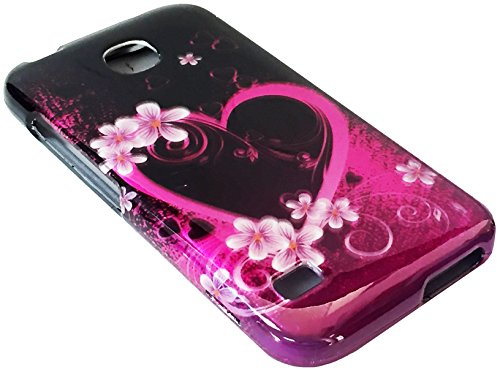 For Huawei Union Y538 Hard Snap on Protector Phone Cover Case + Happy Face Phone Dust Plug (Pink Flower Heart)