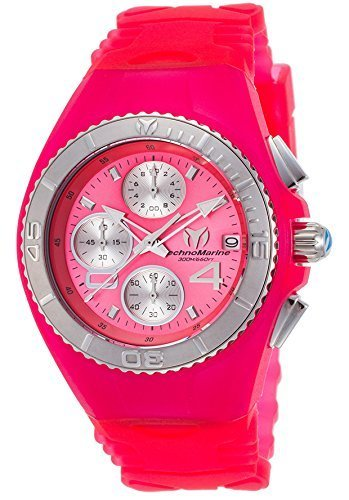 Technomarine Women's 'Cruise' Quartz Stainless Steel and Silicone Casual Watch, Color:Pink (Model: TM-115358) (Stainless New Technomarine Steel Chronograph)