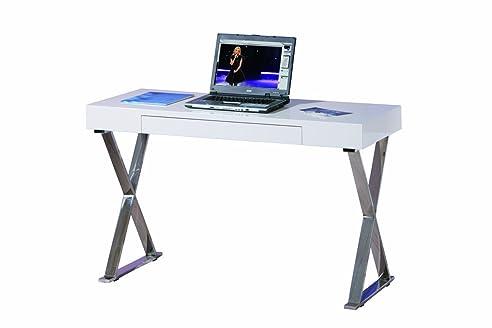 Links 50501000 Schreibtisch Weiß Hochglanz Computertisch PC Tisch  Computerschreibtisch Modern