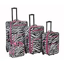 Rockland F105 Luggage Set, Pink Zebra, One Size, 4-Piece