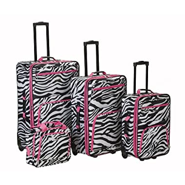 Rockland Luggage 4 Piece Luggage Set, Pink Zebra, One Size