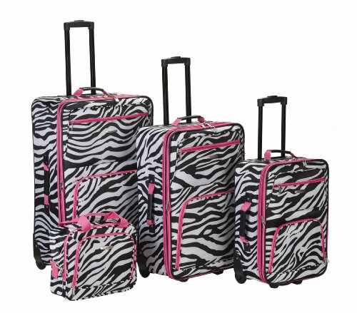 Rockland Luggage 4 Piece Luggage Set, Pink Zebra, One Size ()