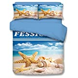 Starfish Series Bedding Sets - MeMoreCool 100% Polyester Reactive Printing Flat Sheet 4PC Queen 2200g Family Gifts