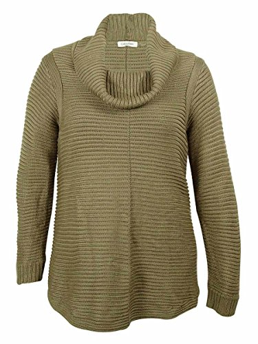 Calvin Klein Women's Ribbed Knit Cowl Neck Sweater (1X, Brown Heather)