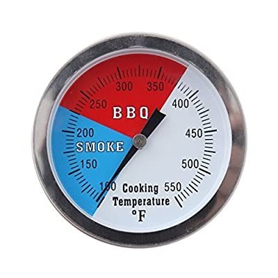 "Ridgeyard 2"" 550℉ BBQ Charcoal Grill Pit Wood Smoker Temp Gauge Thermometer 3/8"" Stem Stainless Steel"