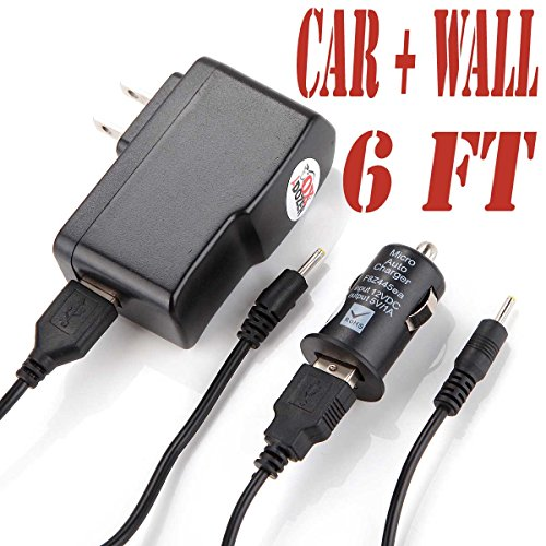 6 Feet Ac/ Dc Charger Adapter (6ch) Power Supply with Round Jack Plug Fits Hott T726h 7 Inch Kids Android Tablet (Set of Two Car and Wall)