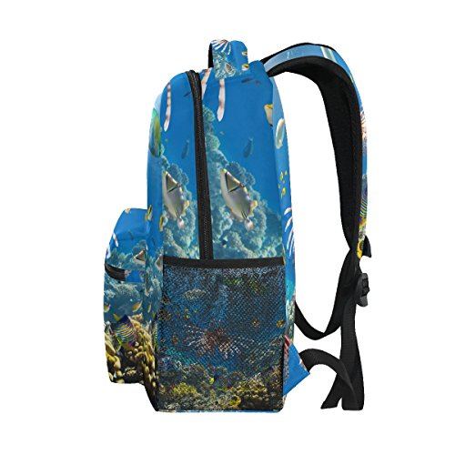 Travel Daypack BENNIGIRY Coral Backpack School Underwater Beautiful Reef Jellyfish Book Bag World PxvTSP