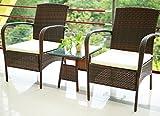Merax 3 Piece Cushioned Patio PE Rattan Furniture Set Outdoor Garden Wicker Set with Beige Cushions (Brown.)