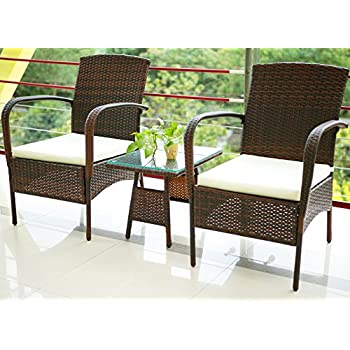 merax 3 piece cushioned patio pe rattan furniture set outdoor garden wicker set with beige cushions