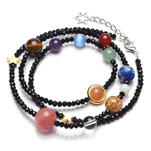 QGEM Solar System Bracelet/Necklace Universe Galaxy The Nine Planets Guardian Star Healing Jewelry-Black Beads Black Solar Bracelet