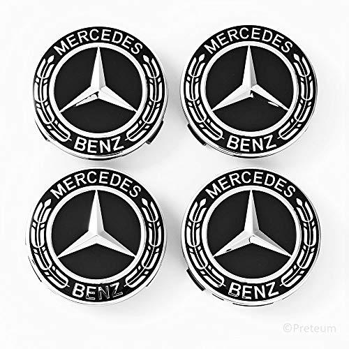 Mercedes Benz Wheel Center Caps - Set of 4 - New - Black - 75mm /3 Inch - MB Wheels Center Cap - Mercedes Benz Wheel Caps – Mercedes Center Caps - Mercedes Wheel Caps - Mercedes Benz Center Wheel Caps by Preteum