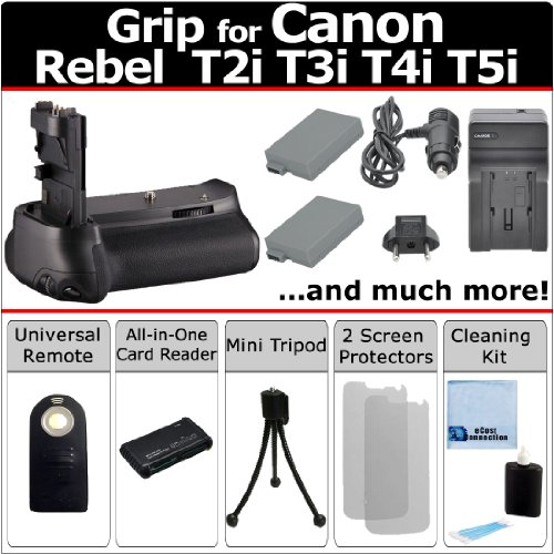 (Professional Vertical EOS Rebel T2i T3i T4i T5i Multi-Purpose Battery Grip for Canon EOS Rebel T2i T3i T4i T5i DSLR Camera + LP-E8 Long Life Batteries + AC/DC Turbo Charger With Travel Adapter + Universal Wireless Remote + All-In-One Card Reader + Complete Deluxe Starter Kit (BG-E8 BGE8))