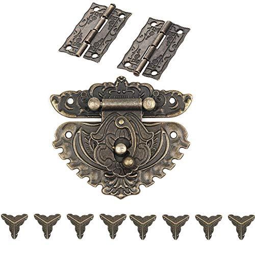 Retro Jewelry Box Antique Buckle Padlock Lock Key Latch Clasp Set,2PCS Hinge & 1 PC Retro Style Padlock Lock & 8PCS Jewelry Case Pad Corner Protector with 45 Screws ()