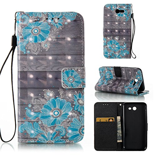 Galaxy J3 Emerge Case,HAOTP 3D Beauty Luxury Fashion PU Flip Stand Credit Card ID Holders Wallet Leather Case Cover for Samsung Galaxy J3 2017 / Amp Prime 2 / J3 Prime - Floral Flower Pattern