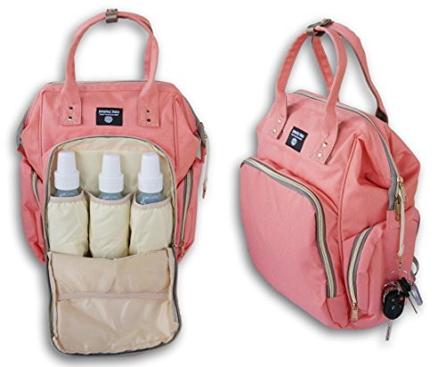 Price comparison product image Jumping Daisy Large Baby Backpack Diaper Bag for Women or Men - Zip Pocket Capacity for Large 8-Ounce Baby Bottles (Coral Pink)