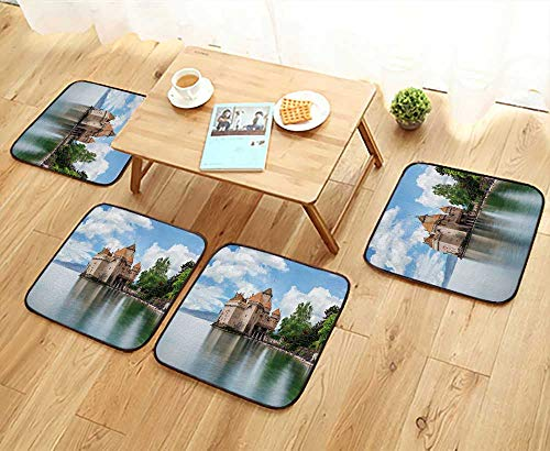 UHOO2018 Elastic Cushions Chairs View of Famous Chateau de chillon at Lake Geneva one of Switzerland for Living Rooms W29.5 x L29.5/4PCS Set