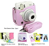 CAIUL 4 in 1 Fujifilm instax Mini 25 26 Instant Camera Accessories Bundles (Pink Mini 25 Case/ Close-Up selfie Lens/ Colorful Film Frame/ Film Stickers)