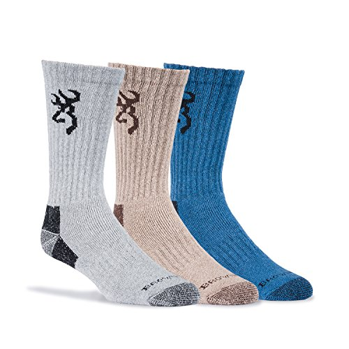 Browning Mens Cottonwood Socks, Multi, Large, Pack of 3, Brown/Blue?Grey Large ( Sock Size Large, Mens Shoe Size 9-12.5 )