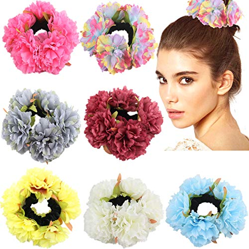 (7 Colors Garlands Rose Flower Hair Scrunchies Velvet Elastic Hair Bands Flower Wreath Hair Ponytail Holder Scrunchy Ties Vintage Accessories for Women Girls Wedding Party)