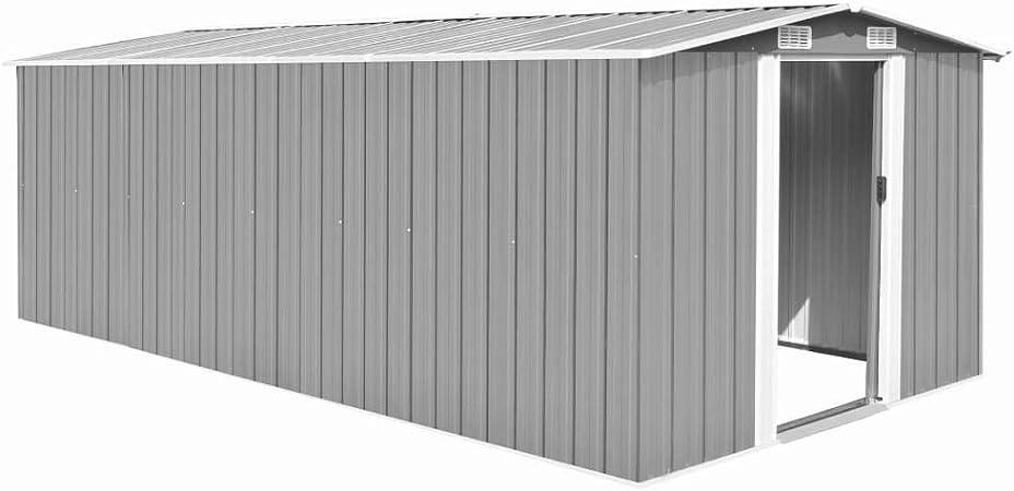vidaXL Caseta de Jardín de Metal Gris 257x497x178cm Jardín Patio Cobertizo: Amazon.es: Bricolaje y herramientas