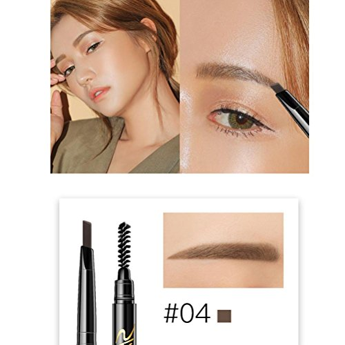 Creazy Double Head Automatic Rotation Eyebrow Eyeliner Pencil With Brush Makeup Tool (D)
