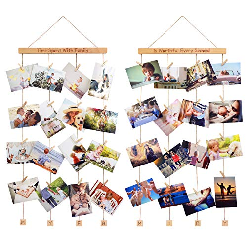 - Homemaxs Hanging Photo Display Picture Frames Collage Pictures Organizer Wall Decor with 40 Wooden Clips for Hanging Photos, Prints, Artwork, 2 Pack