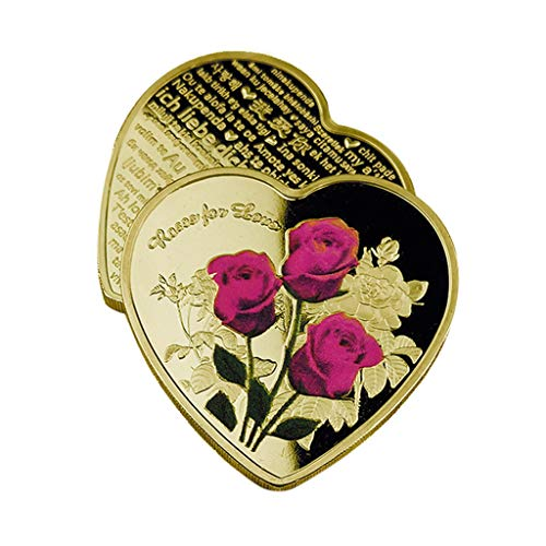 Gothing Challenge Coin Valentine's Day Couple Lover Coins Rose Flower Collection Art Heart Shaped Silver Gold Alloy Souvenir Crafts Gifts