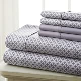Spirit Linen Hotel 5Th Ave Prestige Home Collection 6 Piece Sheet Set, King, Grey Diamond