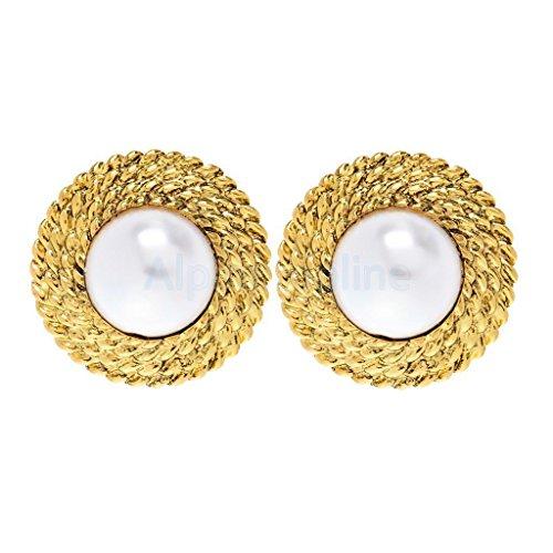 Faux Pearl Button Earrings (Women Fashion Jewelry Beautiful Button White Faux Pearl Stud Earrings)
