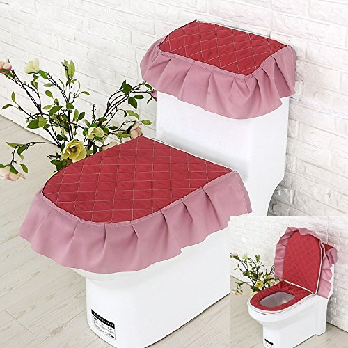 MKSFY Toilet Seat Cover Continental Cloth Lace Toilet 3-Piece Bathroom General Waterproof, Elegant Red