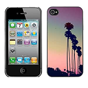 Plastic Shell Protective Case Cover || Apple iPhone 4 / 4S || La Purple Sunset Palm Trees @XPTECH
