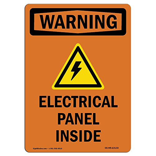 OSHA WARNING Sign - Electrical Panel Inside With Symbol | Choose from: Aluminum, Rigid Plastic or Vinyl Label Decal | Protect Your Business, Construction Site, Warehouse & Shop Area |  Made in the USA