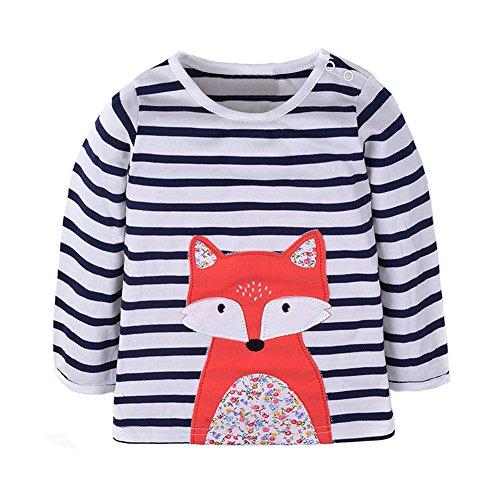 Warmbaby Toddler Girls Kids Long Sleeve T-Shirts 4T Striped