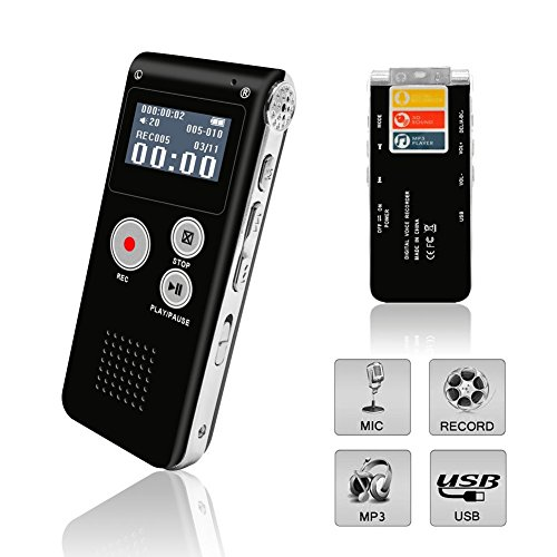 Voice Recorder, Digital Voice Recorder, eBoTrade 8GB Multifunctional Rechargeable Dictaphone, Audio MP3 Music Player with Mini USB Port (Black)