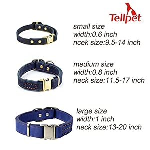 Tellpet Real Leather Dog Collar with Quick Release Buckle for Large Dogs, Dark Blue, Nubuck Leather