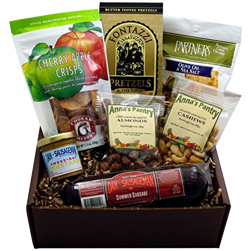 Rustic Snack Gift Box featuring Summer Sausage, Crackers, Sweet Hot Mustard, Cinnamon Almonds, Cashews, Apple Crisps and Butter Toffee Pretzels