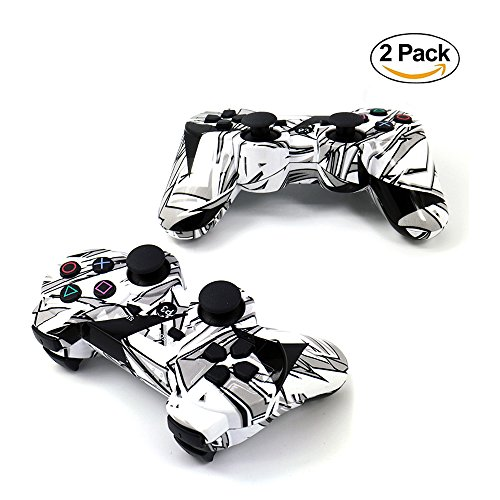 [2 Pack] Bluetooth Camouflage Game Controller Wireless Dualshock Joystick Vibration Sixaxis Remote Gamepad for PS3 Playstation 3 [Gift 2 Charging-Cable] (White-Camouflage)