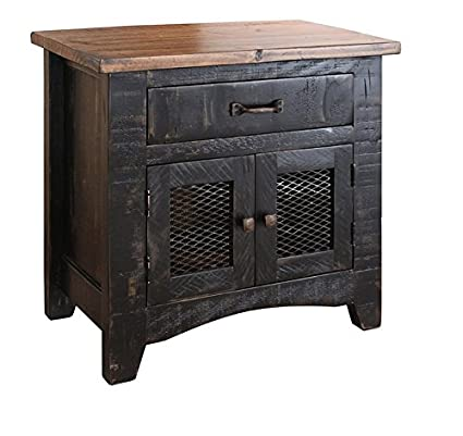 Anton Distressed Black Sturdy Solid Wood Bedside Table Nightstand Matches  Barn Door Series