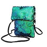 Women Girls Fashion Solid Color Sequins Handbag Outdoor Travel Shoulder Bag Tote Ladies Purse (Green)