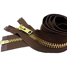 "Sale 28\"" Extra Heavy Duty Jacket Zipper (Special Custom) YKK #10 Brass Separating ~ Color 568 Seal Brown (1 Zipper/pack)"
